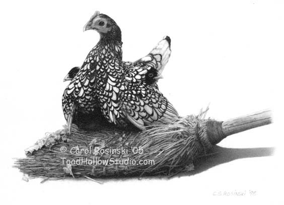 Small Scale art of a Silver Seabright hen with chicks on a broom