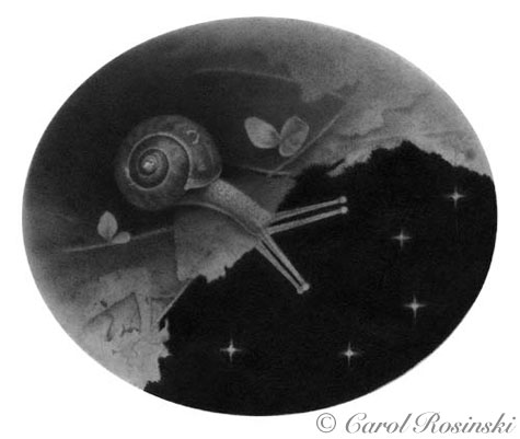 miniature fantasy art of a snail